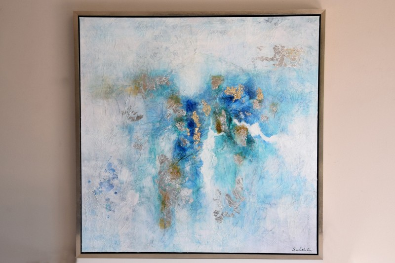 ABSTRACT PAINTING BLUE N2 WITH FRAME