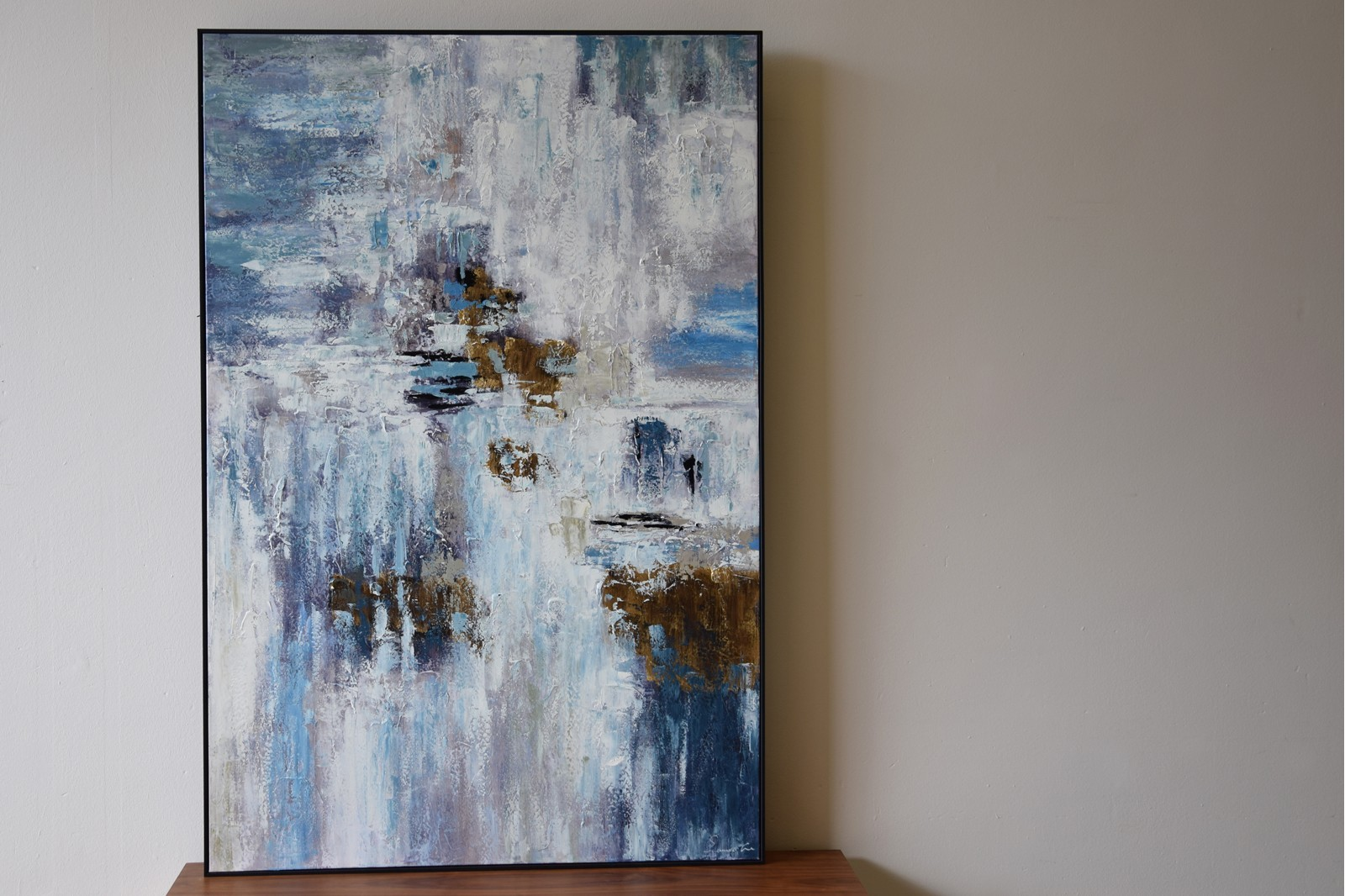 ABSTRACT PAINTING  BLUE CONCRETE WITH FRAME