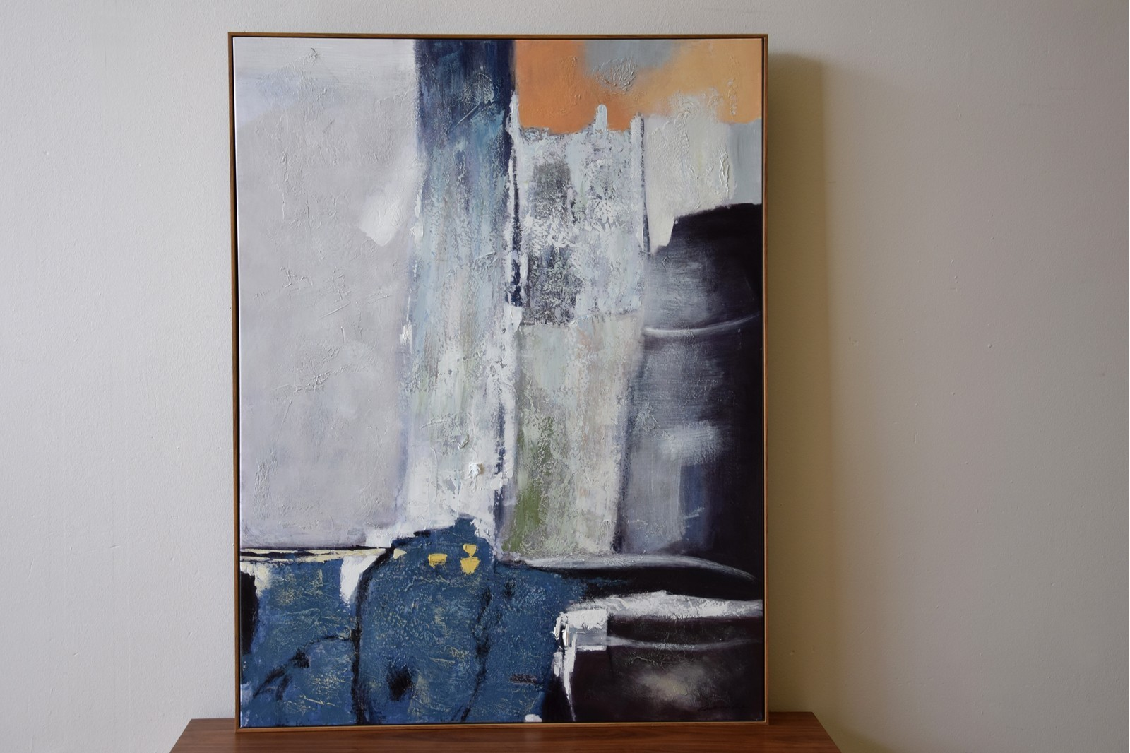 ABSTRACT PAINTING CLIFF WITH FRAME