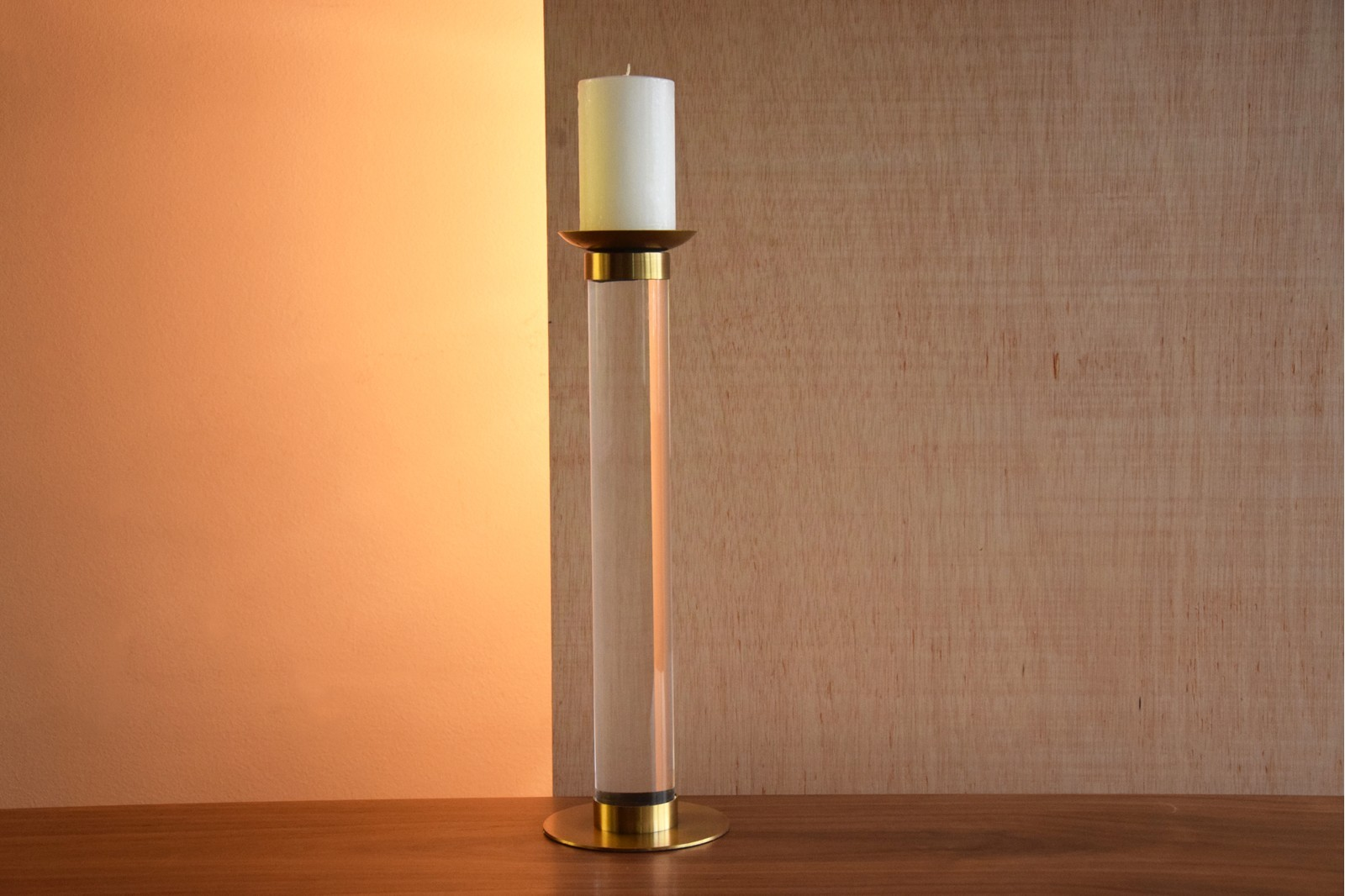 CANDELHOLDER IN ACRYLIC AND STAINLESS STEEL.LARGE