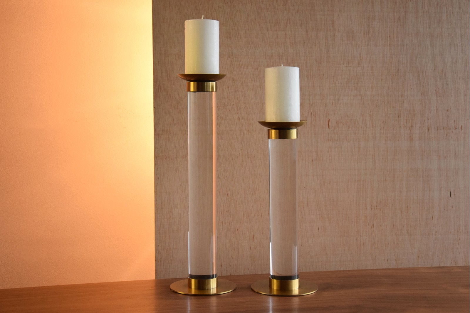 CANDLEHOLDER IN ACRYLIC AND STAINLESS STEEL. SMALL