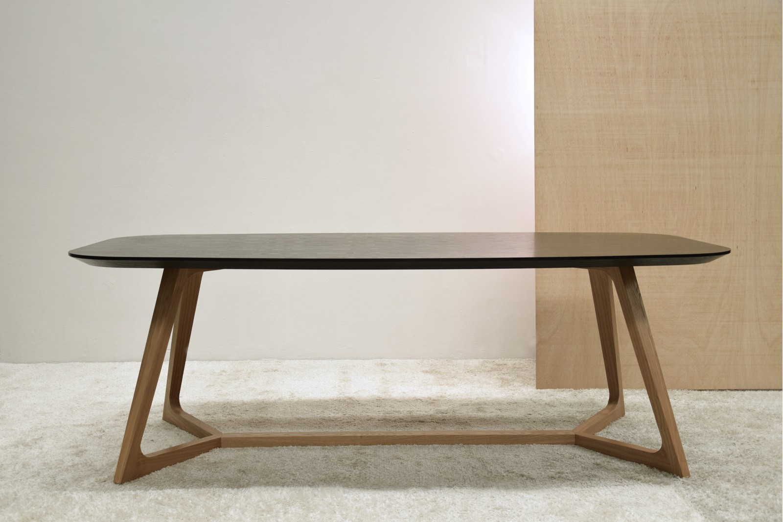 DINING TABLE BLACK AND NATURAL ASH