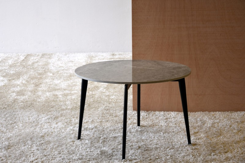ROUND SIDE TABLE. GREY WHITE CERAMIC AND METAL