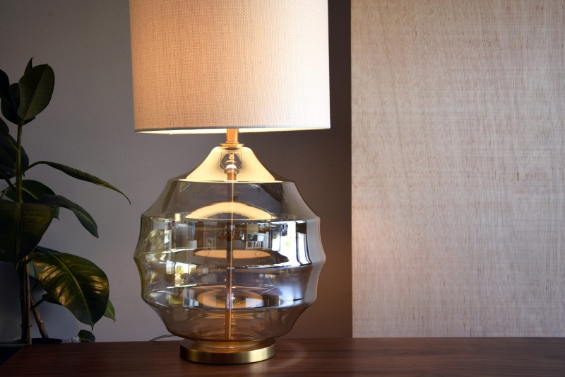 AMBER GLASS TABLE LAMP SPHERE WITH SHADE