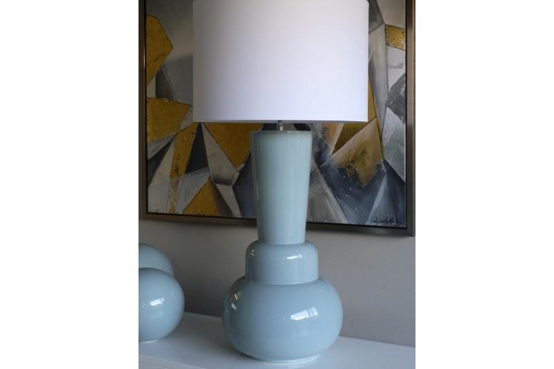 CERAMIC TABLE LAMP BLUE GREY