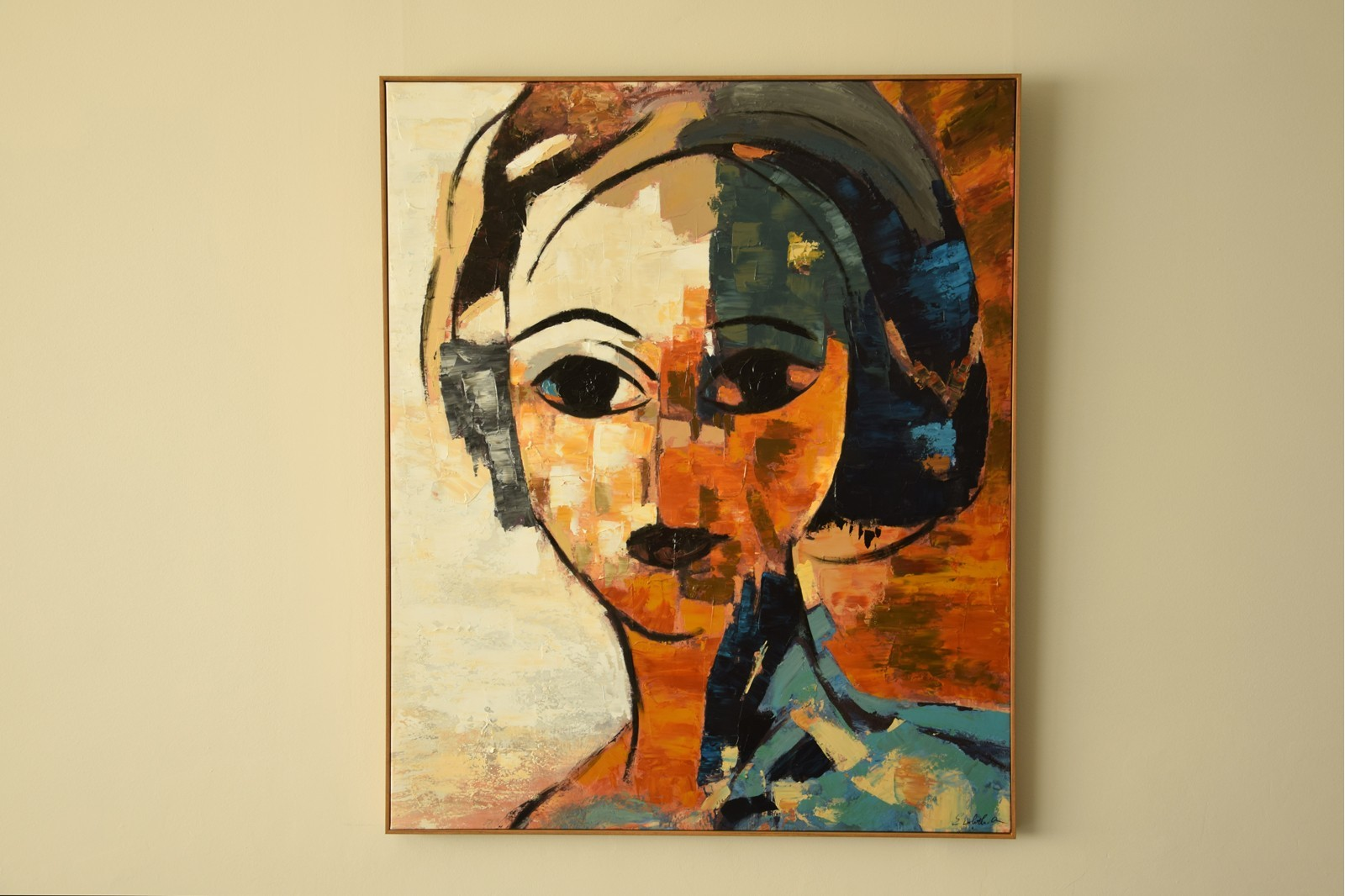 MODERN PAINTING WOMAN N2 WITH FRAME