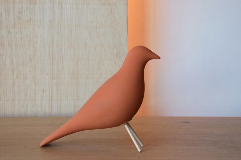 CERAMIC BIRD MATT TERRACOTTA WITH TEXTURE