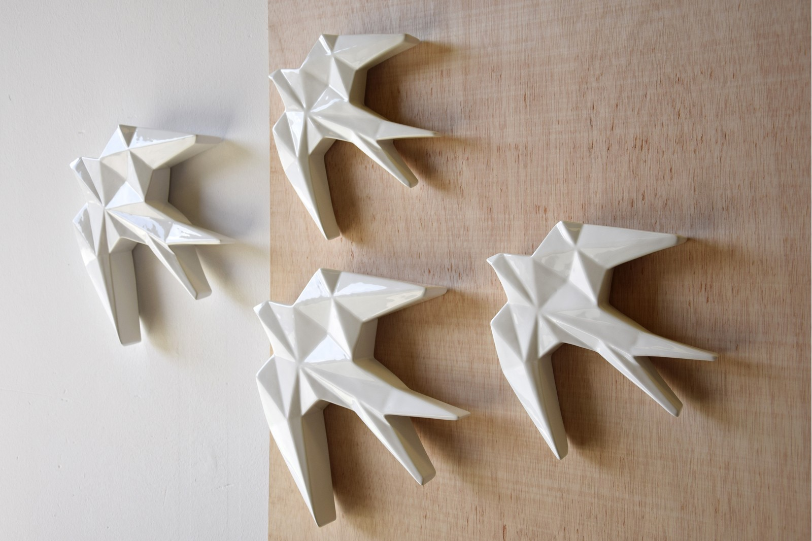ANDURIÑA COLLECTION. GLOSSY WHITE CERAMIC WALL SCULPTURE