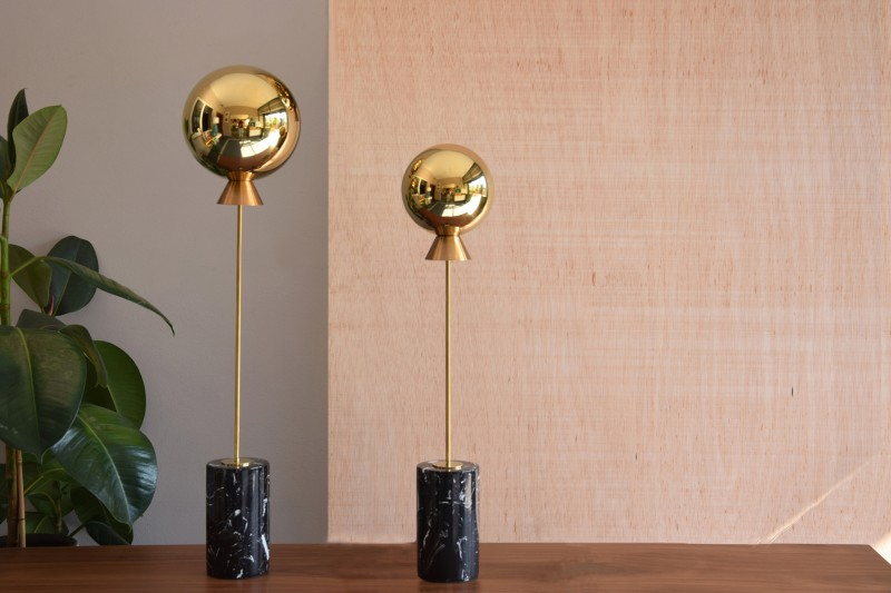 GLOBE COLLECTION. GOLDEN STEEL SCULPTURE MARBLE BASE