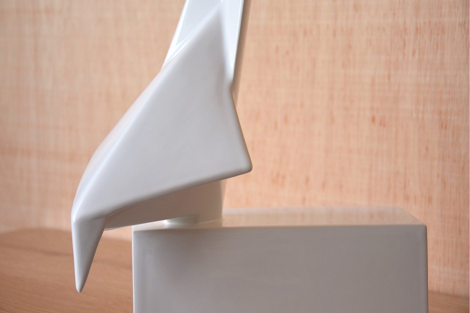 ORIGAMI BIRD COLLECTION. CERAMIC SCULPTURE WHITE GLOSSY