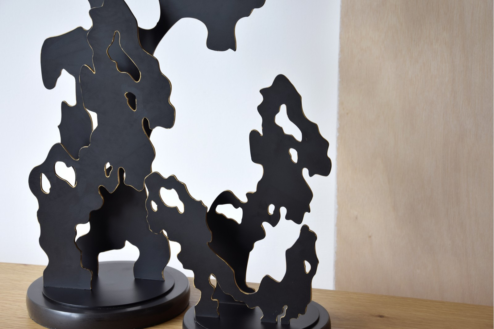 ABSTRACT TREE SCULPTURE.  METAL AND MARBLE