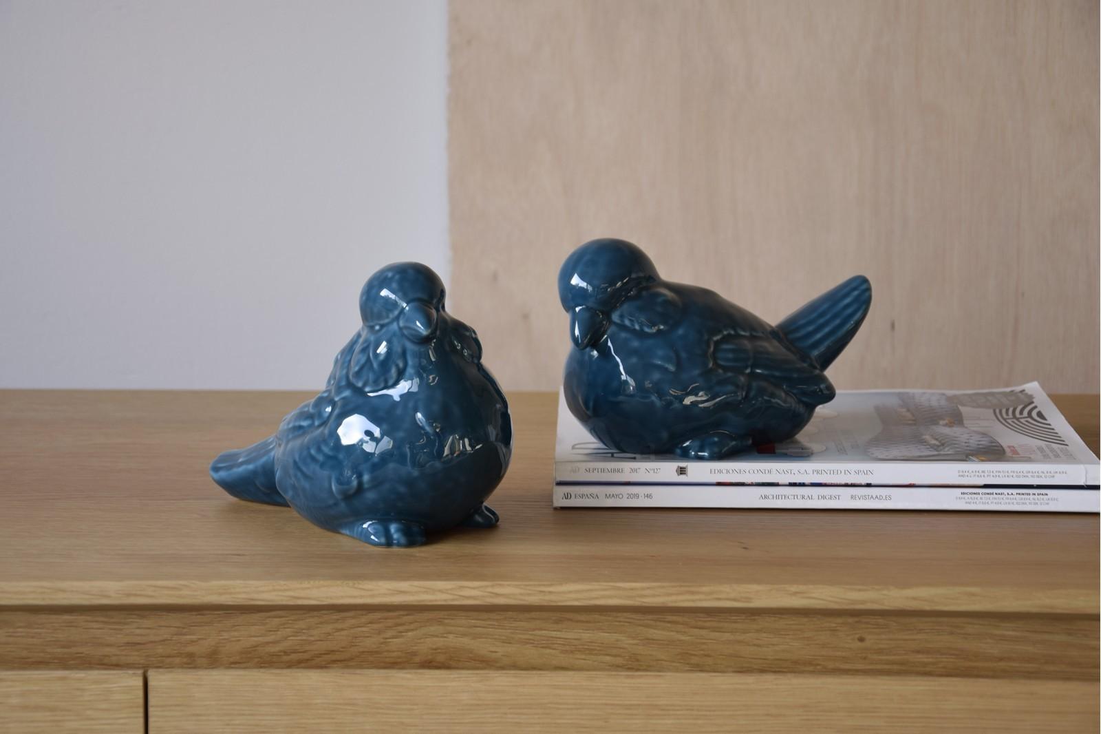 SET OF 2 BLUE CERAMIC BIRDS