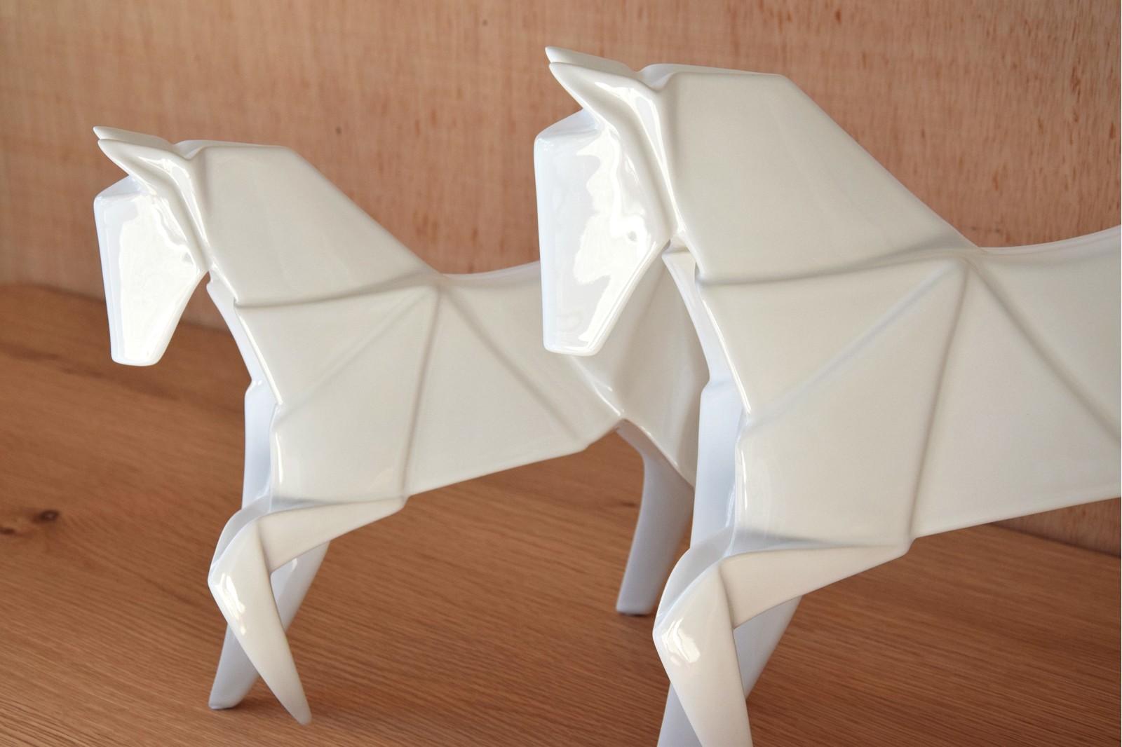 ORIGAMI HORSE COLLECTION. WHITE CERAMIC SCULPTURE