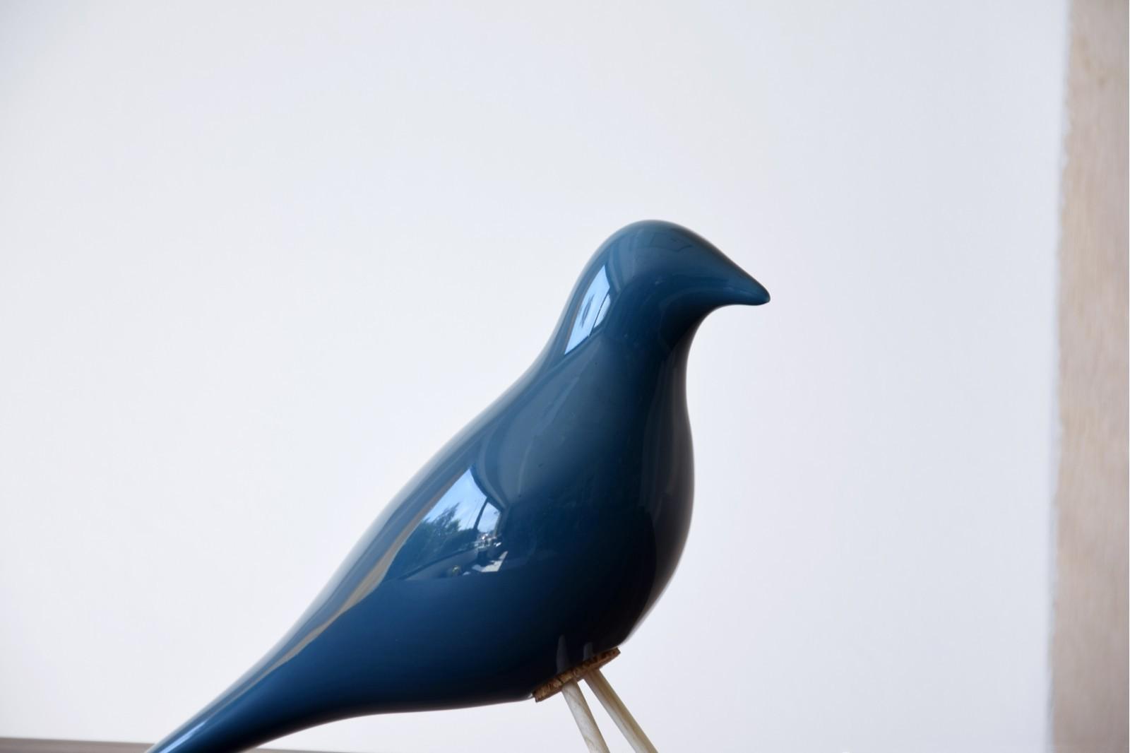 CERAMIC BIRD. GLOSSY BLUE