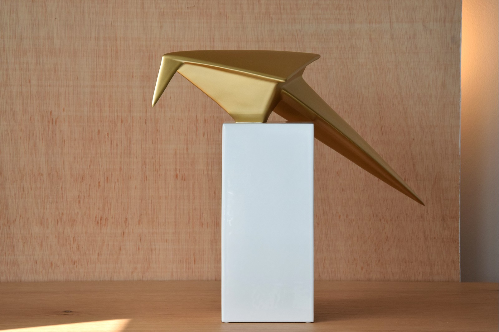 ORIGAMI BIRD COLLECTION. CERAMIC SCULPTURE WHITE GOLD GLOSSY
