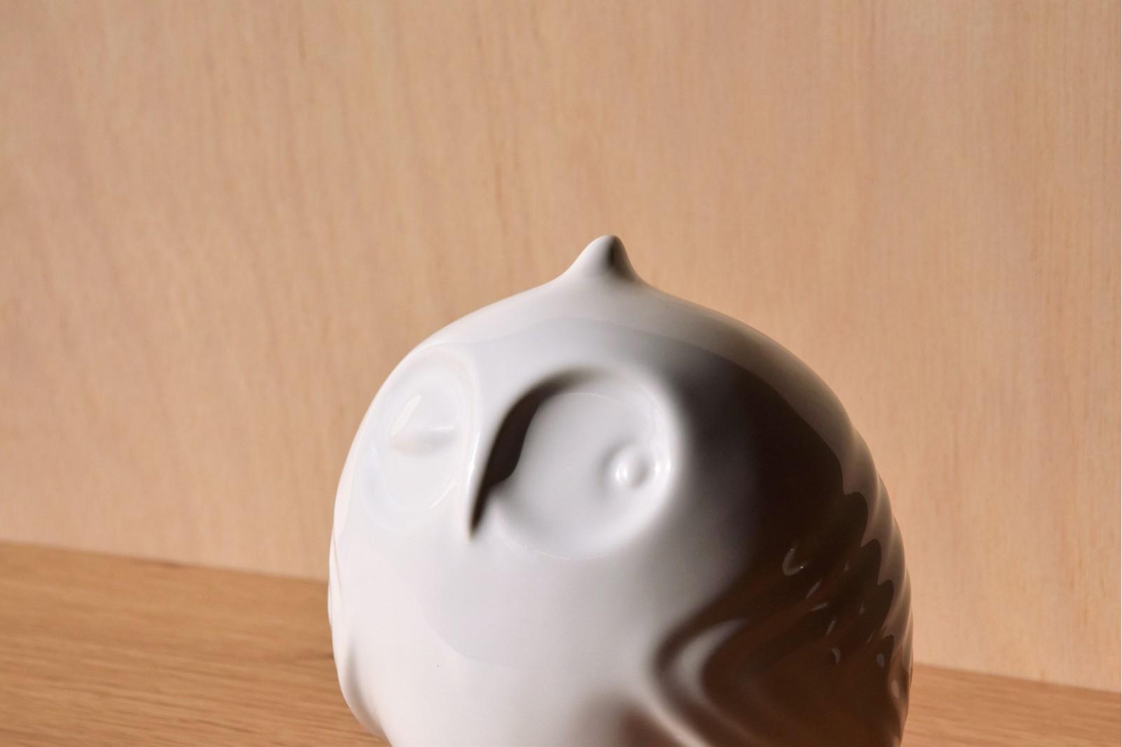 OWL COLLECTION. WHITE CERAMIC SCULPTURE