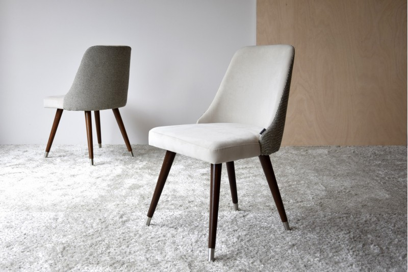 SET 2 DINING CHAIRS. STONE AND GREY COLOR